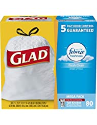Glad OdorShield Tall Kitchen Drawstring Trash Bags - Febreze Fresh Clean - 13 Gallon - 80 Count (Packaging May Vary)