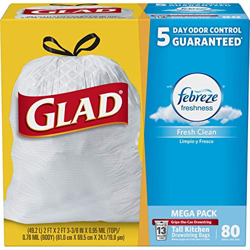 - Glad Tall Kitchen Drawstring Trash Bags - OdorShield 13 Gallon Grey Trash Bag, Febreze Fresh Clean - 80 Count