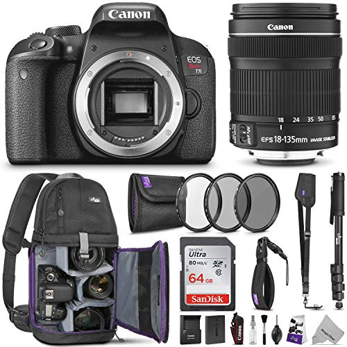 Canon EOS Rebel T7i DSLR Camera with 18-135mm Lens w/Advanced Photo and Travel Bundle - Includes Canon USA Warranty, Altura Photo Backpack, SanDisk 64gb SD Card, Monopod, Filter Kit, Neck Strap