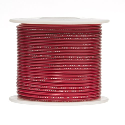Remington Industries 8STRREDGPT25 8 AWG Gauge Primary Wire, Stranded Hook Up Wire, 25' Length, Red, 0.1285