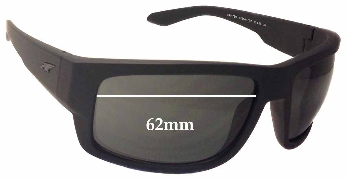 0c694b1dc2 Amazon.com  SFx Replacement Sunglass Lenses fits Arnette Grifter AN4221  62mm wide (Polycarbonate Clear Hardcoat Pair-Regular)  Clothing