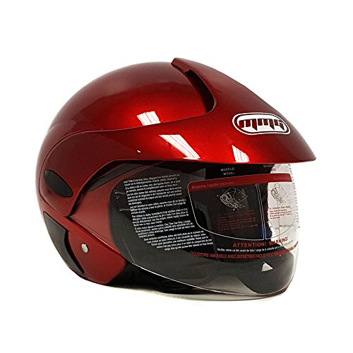 Motorcycle Scooter Open Face Helmet DOT Street Legal - Flip Up Shield - Shiny Burgundy - 203 (Medium)