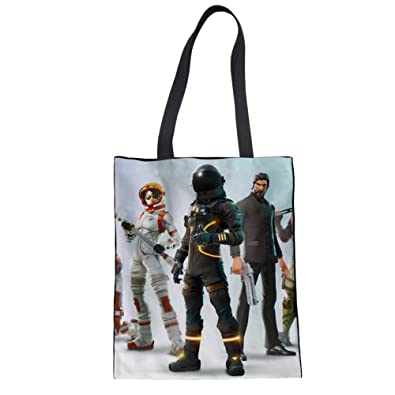 ELVISWORDS Large Women Handbag Fortnite Battle Royale Print Canvas Linen Tote Bags for Girls Ladies Teenager
