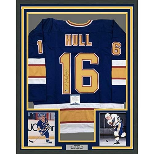 Signed Brett Hull Jersey - FRAMED 33x42 Blue Beckett BAS COA - Beckett Authentication - Autographed NHL Jerseys
