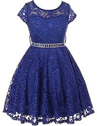 0fc1d6b19 Little Girl Cap Sleeve Lace Skater Stone Belt Flower Girls Dresses