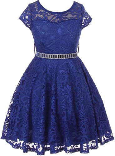 Little Girl Cap Sleeve Lace Skater Stone Belt Flower Girls Dresses (19JK88S) Royal 4 ()