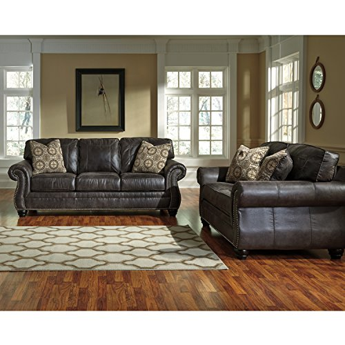 Flash Furniture Benchcraft Breville Living Room Set in Charcoal Faux Leather, Black/Gray price