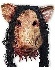 Yansyuiongmj Halloween Mask, Halloween Masquerade Mask,Animal Scary Masks Pig Head with Black Hair Latex Masks
