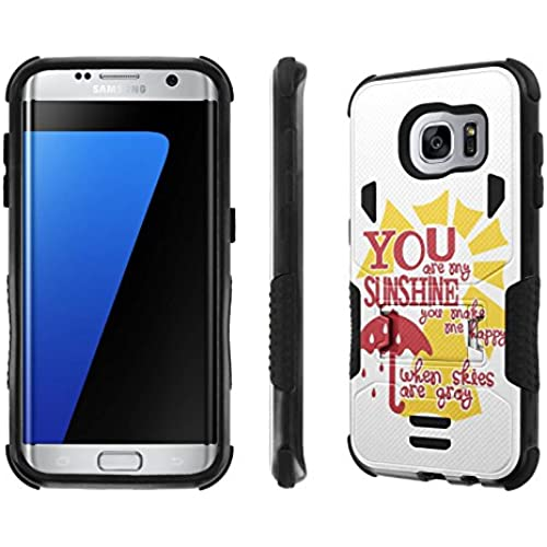 Galaxy S7 Edge Case, [NakedShield] [Black/Black] Combat Tough SHOCK PROOF with KICKStand - [You are My Sunshine Sales