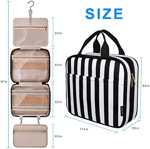 Upgraded Hanging Travel Toiletry Bag,Large Cosmetic Organizer&Water-resistant Makeup Cosmetic Bag Travel Organizer for Accessories, Shampoo, Full Sized Container, Toiletries