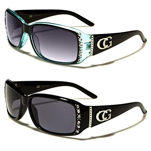 Rhinestone Logo Sunglasses - CG Eyewear 2 Packs Womens Rhinestone Designer Fashion Sunglasses (Black & Blue)