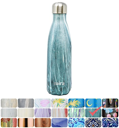 MIRA Vacuum Insulated Travel Water Bottle | Leak-proof Double Walled Stainless Steel Cola Shape Portable Water Bottle | No Sweating, Keeps Your Drink Hot & Cold | 17 Oz (500 ml) | Blue Granite