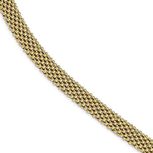 Argent Sterling poli Ton or-Maille de Bracelet-JewelryWeb - 7,5 cm