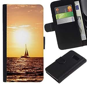 LECELL--Cuero de la tarjeta la carpeta del tirón Smartphone Slots Protección Holder For Samsung Galaxy S6 -- Sunset Sailing --