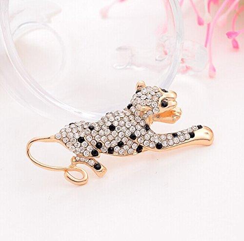 [Lovely animal crystal rhinestone opal brooch collar leopard] (Beetle Wings Costume)