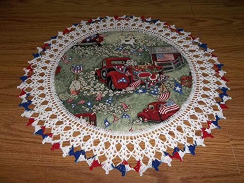 (Patriotic Doily Red Truck 4th of July Table Topper Round Lace Table Decoration Fabric Center Doily Crocheted Edge 20 Inches Centerpiece)
