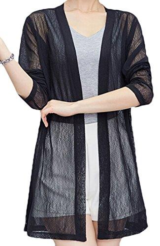 GAGA Women's Sexy Solid Color Cotton Gauze Cardigan Black (Crochet Gauze Tunic)