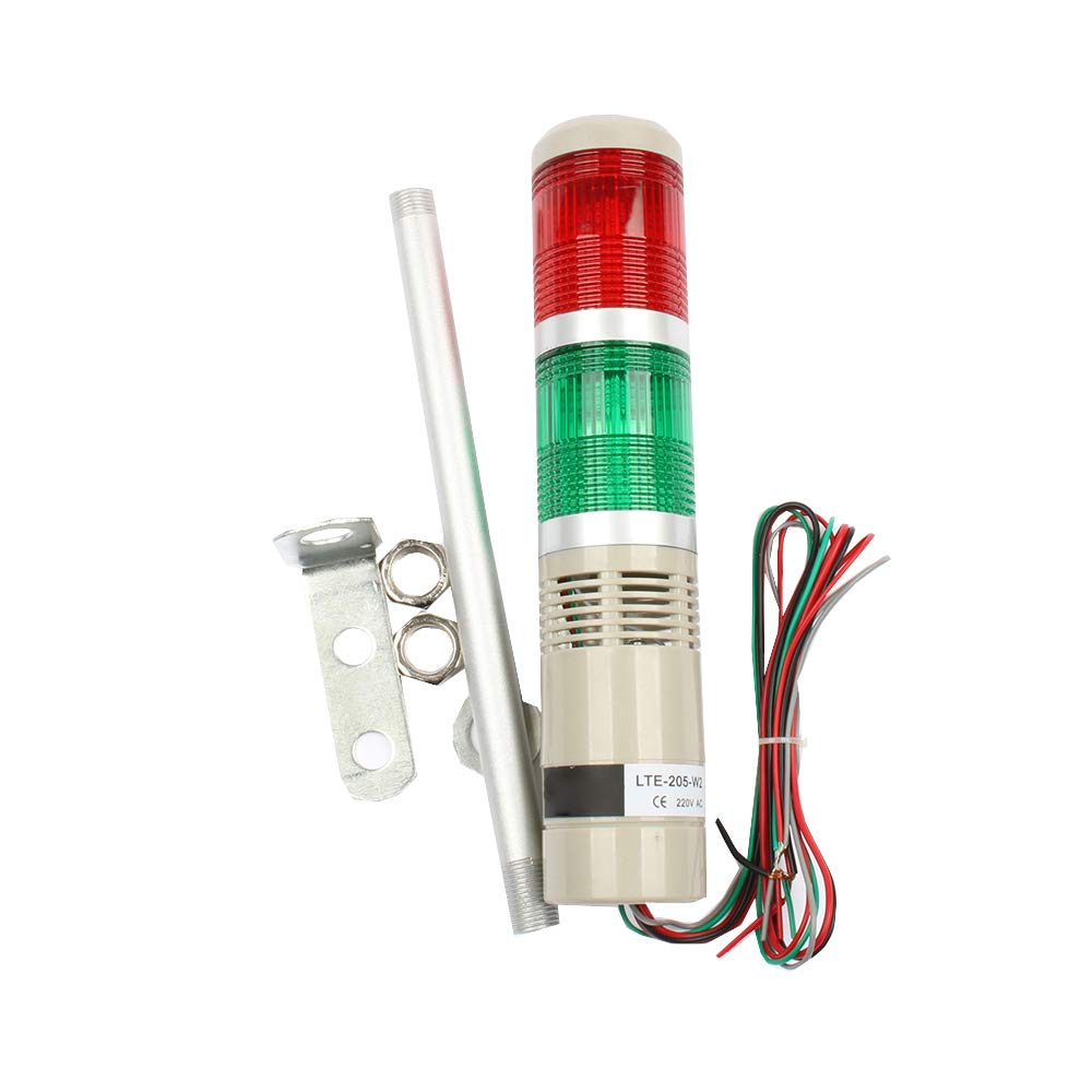 LUBAN Industrial Signal Light LED Tower Light 12V 24V 110V 220V Safety Stack Lamp Red Green Indicator Light Always Light (110V)