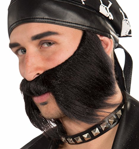 [Forum Novelties Men's Bad Biker Novelty Beard, Black, One Size] (Biker Halloween Costumes For Adults)