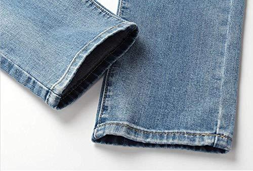 Casual Slim R Strappati Azzurro Jeans Tempo Dritti Fit Vita Con Uomo Bassa Da Pantaloni Denim Libero Moderna Retrò In F5nHYwq