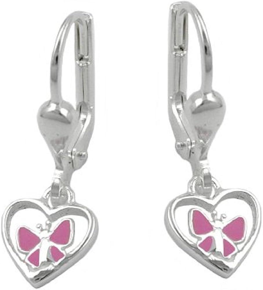 Pendientes de bisutería, la mariposa del corazón, Plata 925 G90943