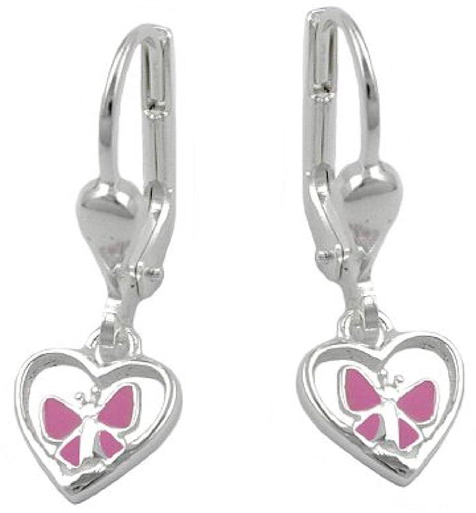 Bijoux Boucles d'oreille pour les enfants pour argent 925 coeurs 21.5 x 8 mm unbespielt 466G90943312