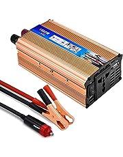 Inversor de Corriente 650 1500W,Lacyie Transformador 12V a 220V,Convertidor Corriente Onda Modificada Coche,2.1A Puerto USB,con Pinza y Cable de Encendedor de Cigarrillo Automóvil,Coche Camping Camión