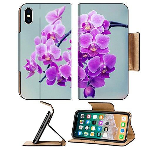 MSD Premium Apple iPhone X Flip Pu Leather Wallet Case Orchids flower branch and vintage light IMAGE (Vintage Orchid)