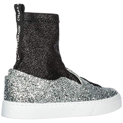 Sneakers Women's Flirting Trainers Leather FERRAGNI Silver Shoes CHIARA zq7wXH