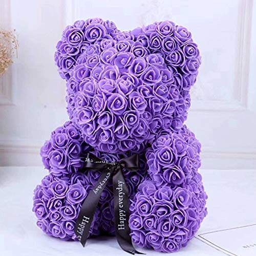 KEENICI Rose Bear with Box Teddy Bear Artificial Rose Flower for Girlfriend Creative Toy Unique Party Decoration (40cm Purple No Box)