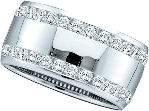 14kt White Gold Womens Round Channel-set Diamond Double Row Wedding Band 1.00 Cttw by JawaFashion