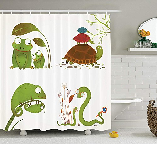 Reptile Shower Curtain Reptile Family Colorful Baby Snake Frog Ninja Turtles Love Mother Family Theme Cloth Fabric Bathroom Decor Set with Hooks Extra Long Green Brown 40