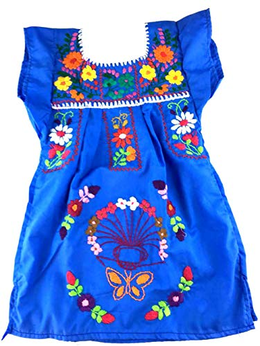 Mexican Clothing Size 2 Baby Girls Mexican Dress Tehuacan Color Large Blue Fiesta Mexicana 5 de Mayo Halloween
