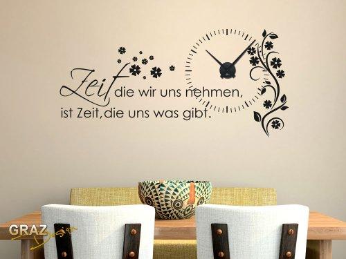 Wandtattoo Uhr mit Uhrwerk Wanduhr für Wohnzimmer Spruch Zeit die