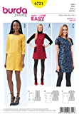 Patrons de couture faciles Burda 6721 pour femmes, robes