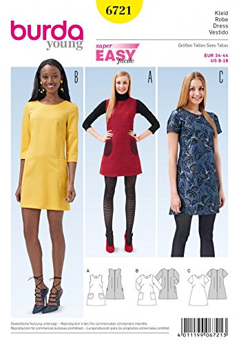 Burda Ladies Easy Sewing Pattern 6721 Simple Shift Dresses: Amazon ...