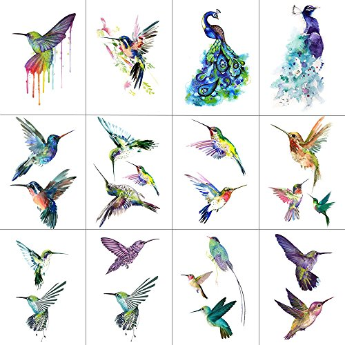 WYUEN 12 PCS Hummingbirds Temporary Tattoo Sticker for Women Men Fashion Body Art Adults Waterproof Hand Fake Tatoo 9.8X6cm (FW12-13)