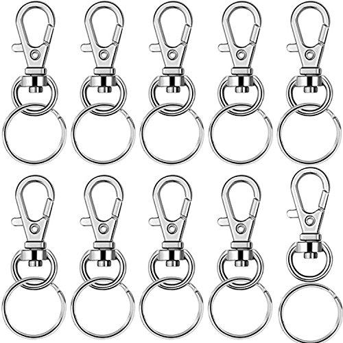 (BronaGrand 60 Pieces Metal Swivel Lanyard Snap Hook with Key Rings(Small Size))
