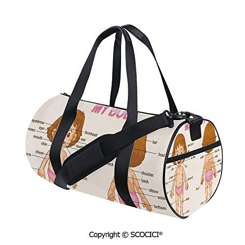 Canvas cylinder sports bag,Cute Little Cartoon Girl Children Body Parts School Science Class DecorativeSports and Fitness Essentials,(17.6 x 9 x 9 in) Pale Pink Brown Cream