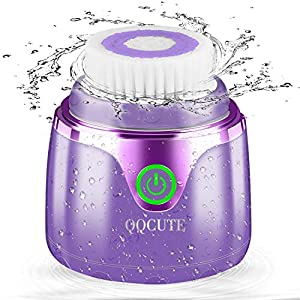 Sonic Facial Cleansing Brush, QQcute Waterproof Face Brush, Smart Timer, Wireless Charging Face Scrubber with 3 Modes and 2 Brush Heads for Deep Cleansing, Exfoliating Galvanic Machines, Purple