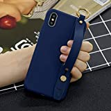 Amocase Soft Silicone Case with 2 in 1 Stylus for Samsung Galaxy S10,Cute Sweet Candy Color Wrist Strap Stand Shockproof Anti-Scratch Flexible Case - Dark Blue