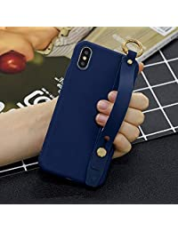 Amocase Soft Silicone Case with 2 in 1 Stylus for Huawei P20 Lite 2019,Cute Sweet Candy Color Wrist Strap Stand Shockproof Anti-Scratch Flexible Case - Dark Blue
