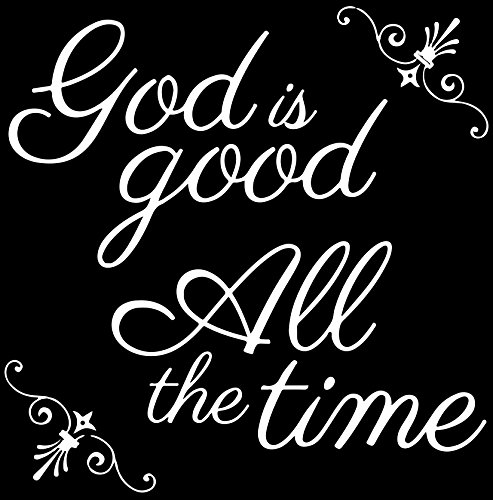 Gods Tile Will (Omega God is Good All The time Vinyl Decal Sticker Quote - Medium - Matte White)