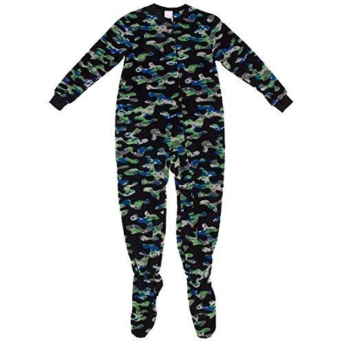 Komar Kids Little Boys' Black Camo Footed Pajamas S/6-7