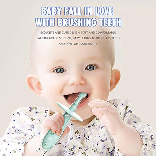 51gL5uoT8pL - Baby Toothbrush Silicone Eccomum 2 Pack Infant Training Toothbrush, 100% Food Grade Silicone, Extra Soft/Tough Bristles, BPA/PVC/Phthalate Free, Anti-chocking/Anti-Fall Design, Unisex (2 Pack)