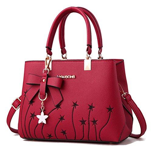 NUCLERL Embroidery Fleur d'étoile Sac à main pour les femmes confortable en cuir PU Fermeture éclair fourre-tout avec Bowknot charme gris Rouge