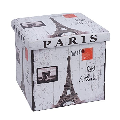 Folding Storage Ottoman Bench Cube - MYKEA Footrest Seat Coffee Table Cube with Paris Eiffel Tower Pattern,15