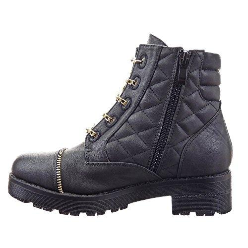 Sopily - Zapatillas de Moda Botines Low boots Botas militares Zapatillas de plataforma Tobillo mujer zapato acolchado Cadena Cremallera Talón Tacón ancho 4 CM - plantilla textil - Negro