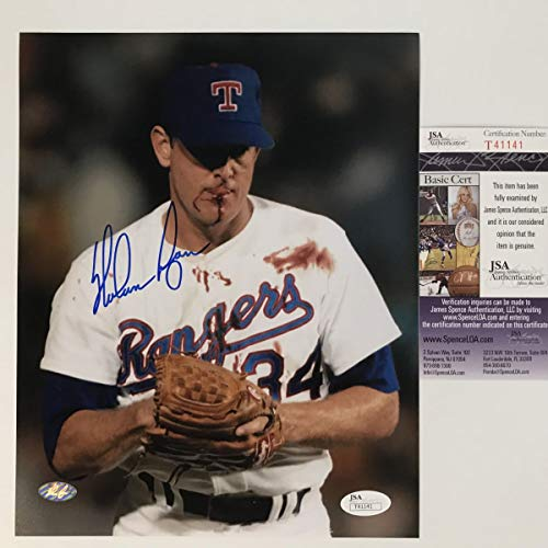 Autographed/Signed Nolan Ryan Bloody Robin Ventura Fight Texas Rangers 8x10 Baseball Photo JSA COA Auto