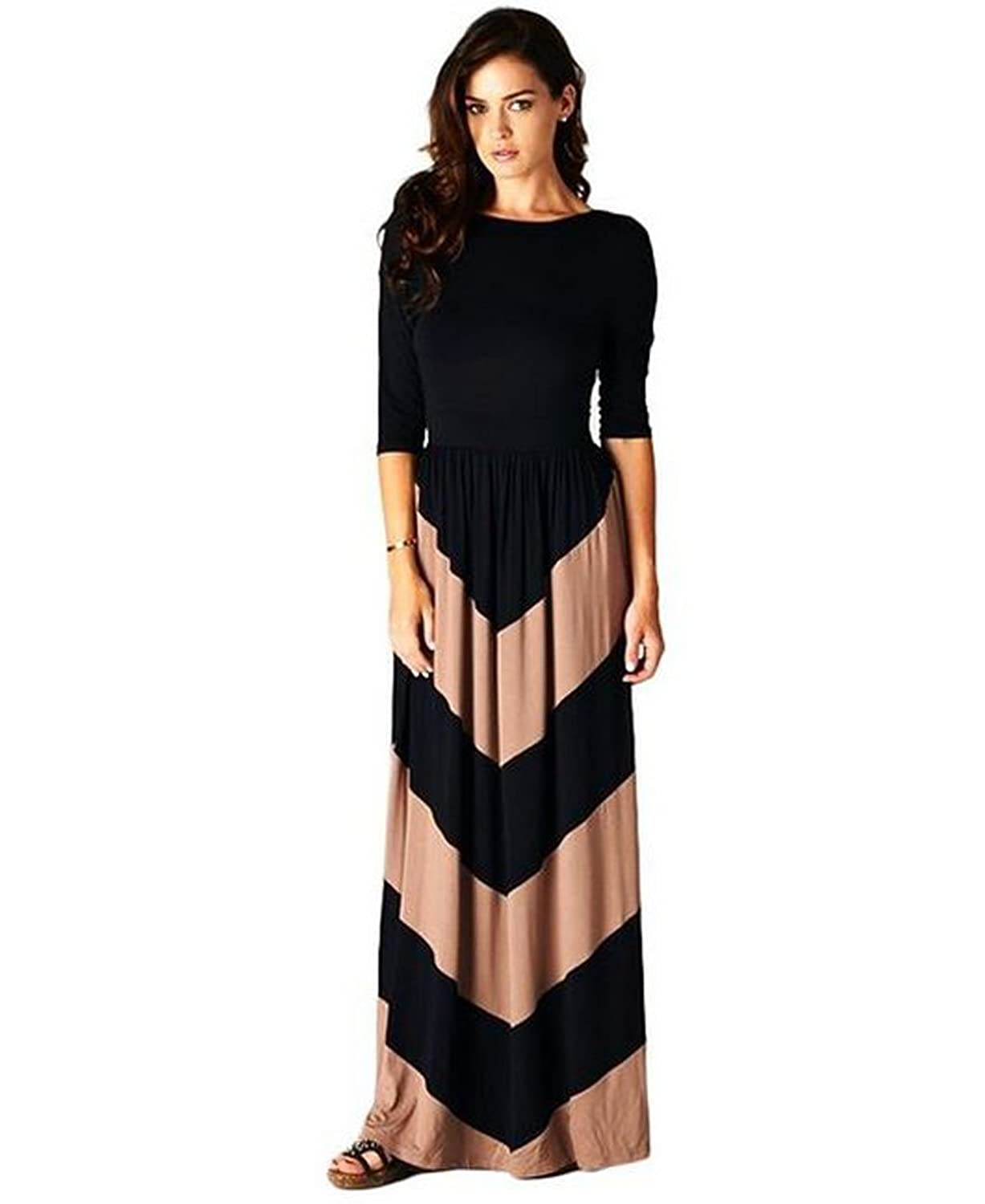 Zoozie LA Women\'s Maxi Dress Sleeves Chevron Black Mocha S at Amazon ...